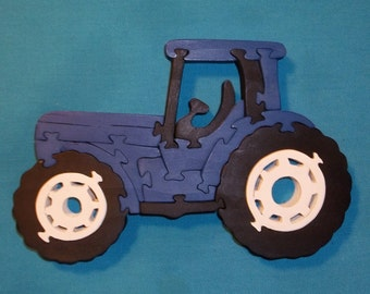 Blue Tractor Scroll Saw Wooden Puzzle