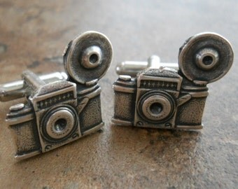 Old Time Flash Camera Cuff Links in Antiqued Silver, Photographer Cuff Links