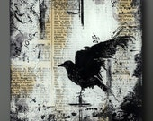 Raven  5, 6, 7 or 8 Inch Square Flat Glass and Wood Wall Blox from Upcycled Dictionary page book art - WilD WorDz - Nevermore 1 of 4