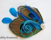 GHEA in MALIBU BLUE -- Peacock Teal Turquoise Feather Hair Clip Headpiece Fascinator Rhinestone Wedding Bride Bridal Bridesmaids Prom Party