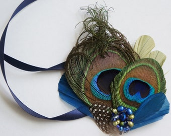 Peacock Feather Wedding Prom Corsage TRINA WRISTLET Cuff Bracelet Clover Sapphire Navy Blue Beaded Clusters Satin Ribbon Ties Custom Colors