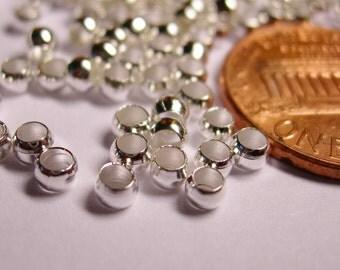 Crimp beads 3mm 1000 pcs silver tone good value - S3