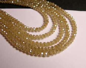 Crystal faceted rondelle - 4mm - 100 beads - sparkle beige - ab - full strand - NCRF9