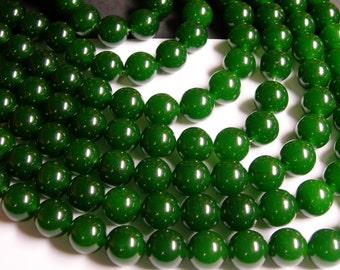 Jade - 12 mm round beads -1 full strand - 32 beads - color  green Jade