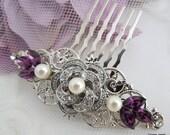 Pearl Hair Comb,Bridal Pearl crystal Hair Comb,Wedding Rhinestone Hair Comb,Purple Hair Comb,Ivory or White Pearl,Amethyst,Purple,ROSELANI