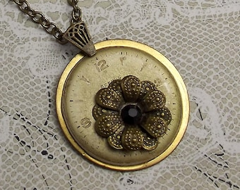 Clock Steampunk Flower Necklace in Gold and Antiqued Brass
