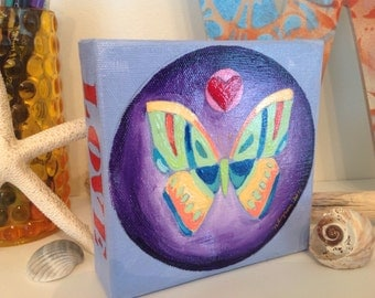 Butterfly love 4x4 original painting