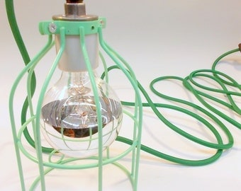 Mint Green Industrial Hanging Cage Lamp Light with Antique Style Edison Bulb