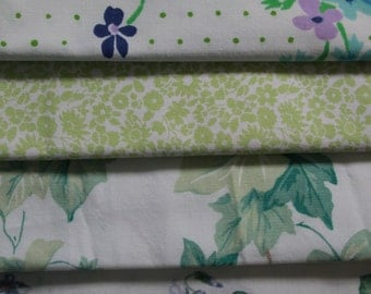 Vintage Sheet Fabric, Reclaimed Bed Linen Fabrics, Fat Quarter Bundle (5 Pack)