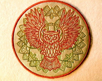 """Cowhide Leather Owl Iron on Patch 4.5"""""""