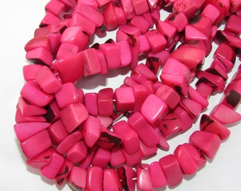 """Bubble Gum Pink Tagua Nut Beads, Big Chip Beads, 14"""" Strand, Organic Beads, Natural Beads, Vegetable Ivory Beads, EcoBeads"""