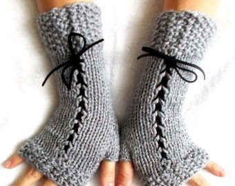 Light Grey Fingerless Gloves Corset Wrist Warmers with Suede Ribbons Victorian Style