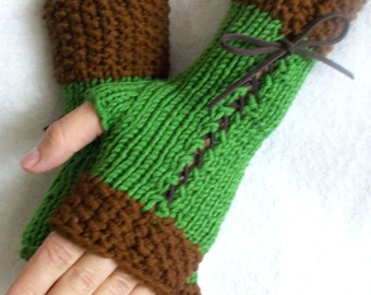 Knit Corset Gloves Green Brown Fingerless Women  Wrist Warmers with Dark Brown Ribbons Acrylic