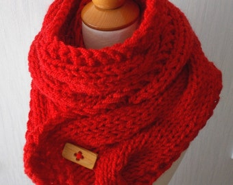 Chunky  Cabled Scarf Handknit Big Thick Cowl Red  Mohair Acrylic