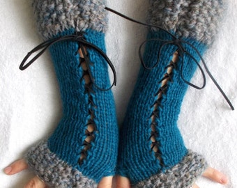 Fingerless Gloves, Long Corset Arm Warmers Handknit in Dark Turquoise Blue Teal Victorian Style