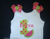Girls PERSONALIZED 1ST BIRTHDAY Tank Shirt - Watermelon Birthday- Frilly Tank Shirt - Appliqued Number One and Watermelon Slice Fushia Green