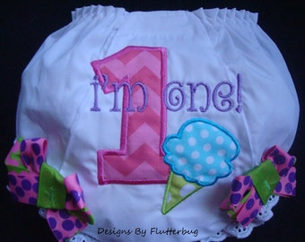 1ST BIRTHDAY Diaper Cover Bloomers - Fancy Pants - Appliqued Numeral One with Ice Cream Cone in Chevron Pink, Turquoise and Green Dot