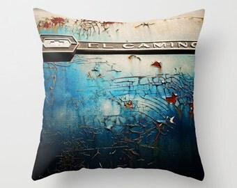 Vintage Car Pillow Cover - El Camino - home decor, photo pillow, throw pillow, turquoise blue, vintage car decor, rust