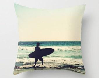 Beach Home Decor - Vintage Surfer - teal green, photo pillow, throw pillow, california,