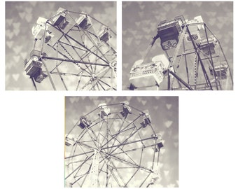 Carnival Wall Art - Ferris Wheel Love Collection - Black and White Photography Set of 3