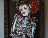 Skeleton Collector - Original Oil painting framed lowbrow tattoo art gothic art pin up girl bird skulls too fast brand zombie girl