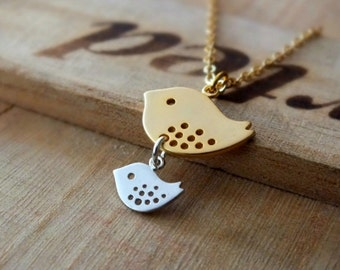 Mother Son Necklace - Also Available in Silver, Family Bird Necklace, Baby Shower Jewelry, New Mom Necklace, Family Necklace, Mother Gift