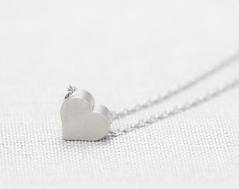 Silver Tiny Heart Necklace, Gift for Women - Also Available in Gold, Simple Dainty Delicate Necklace, Small Heart Charm, Minimalist Jewelry