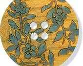 Natural Wood Button Enchanted Sewing Costuming Clothing Crafts Buttons Abstract Vines Leaves Leaf Flowers Green Greenery