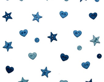 Jesse James Button Micro Mini Shapes Teal Hearts Stars Rounds Doll Button Embellishments