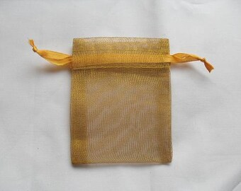 Gold Organza Bags / favor bags set of 100 bags 4 x 6 inch Great for handmade soaps, herbs, tea, jewelry etc.