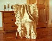 "CLEARANCE! Tan Beige Hand Crochet Throw Blanket, Afghan, Lacy, Oatmeal color, off white, Lace, 60x40"" sofa couch lap bed solid color neutral"