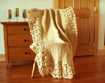 "Tan Beige Hand Crochet Throw Blanket, Afghan, Lacy, Oatmeal color, off white, Lace, 60x40"" sofa couch lap bed solid color neutral"