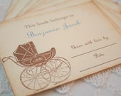 Carriage Bookplates Stickers Book Labels Invitation Inserts Personalized Baby Boy Shower Gift Set of 10