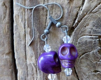 Purple Howlite Turquoise Skulls Earrings