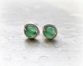 Aventurine Stud Earrings, Sterling Wire Wrapped Posts, Little Studs, Hypoallergenic, Sterling Studs, Green Stud Earrings, Wholesale Jewelry