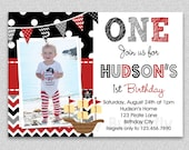 Pirate Birthday Invitation , Boys Pirate Birthday Invitation , Any age can be done