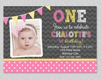Birthday Invitation , Invitation , Announcements,  Girls Birthday Invitation , Pink and Yellow Invitation