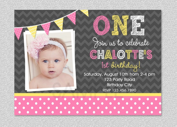 Pink and Yellow Birthday Invitation Girls 1st Birthday Invitation