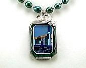Spectacular Gemstone Intarsia Statement Necklace - N680