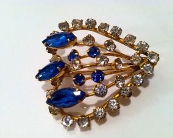 SAPPHIRE Blue Navette Rhinestones Faux Diamond 3D Heart Brooch Pin Golden Authentic Genuine Vintage artedellamoda 1930s 40s Unmarked