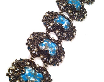 CARNEGIE marked Victorian Revival Cabochon Blue White Pearls CHUNKY Wide Link Panel Bracelet Authentic Vintage Jewelry Runway Nice Quality