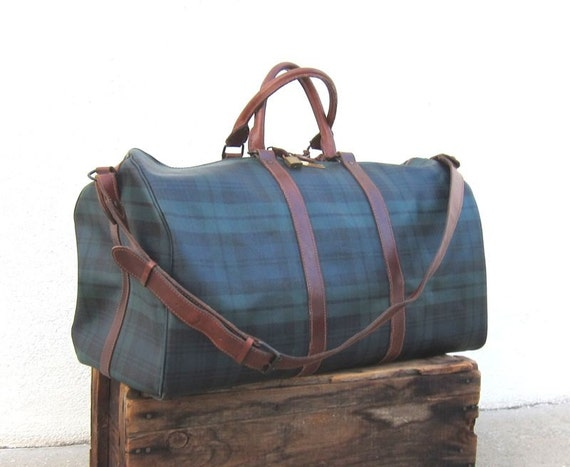 Vintage Ralph Lauren Black Watch Tartan Plaid Large Duffle Bag w/Cognac Leather Trim