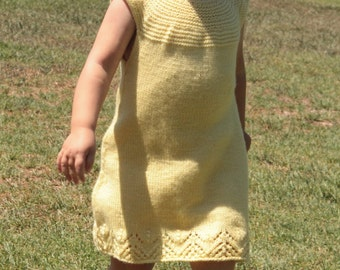 Lemon Chiffon Baby Dress PDF pattern sock yarn newborn, 3, 6, 9, 12, 18 months, 2t, 3t