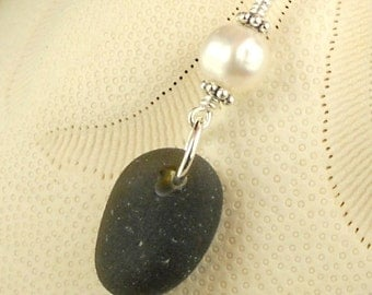 RARE Black Sea Glass Necklace With Pearl Sterling Silver Eco Friendly