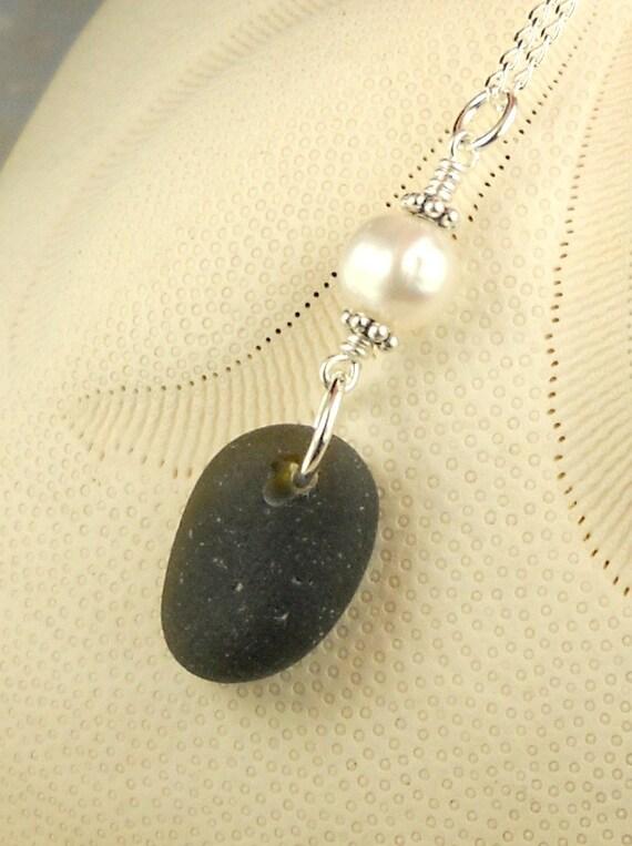 RARE Black Sea Glass Necklace, Eco Friendly Necklace, Pirate Glass Necklace, Beach Glass Necklace With Pearl Sterling Silver Eco Friendly