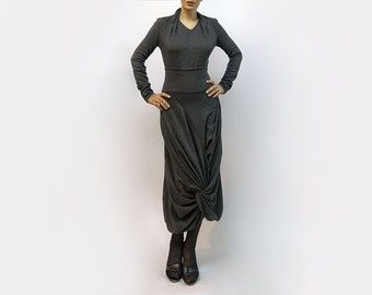 Skirt,grey skirt,long skirt,classic skirt,medium skirt,jersey skirt,asymmetric skirt,original skirt,autumn skirt,original design,casual S15
