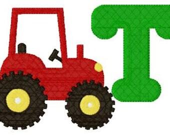 Red Tractor Farm 5x7 Monogram Machine Embroidery Font Design Set // Joyful Stitches