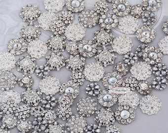 100pcs Mixed Rhinestone Button - Flatback Rhinestone Buttons - Crystal Buttons - Lot - Metal Buttons - Bling Embellishment - Brooch Bouquet