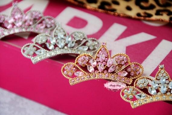 New Better 10pcs Rhinestone Tiara Crown Flatback Metal Brooch Pin Embellishment Princess Pageant Wedding Bouquet Gold Silver Pink Clear
