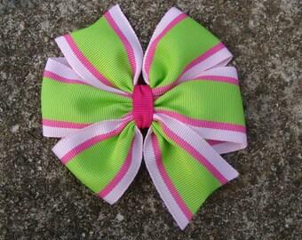 Pink and Green Large 4 inch Pinwheel Hair Bow